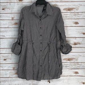 Lafayette 148 Gray Striped Button Up Shirt Dress L